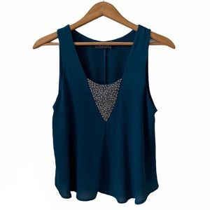 ASTR | Teal Embellished Split Back Tank